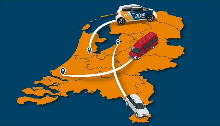 Nederland binnenlandse vlucht: Renault Twingo promoauto, personenbus en SUV